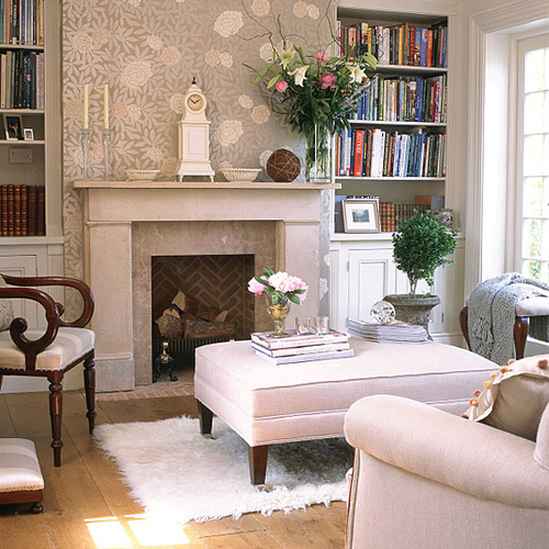 livingroom-decor-with-fireplace-setting-design-lined-with-bookshelves-wallpaper-cozy-look